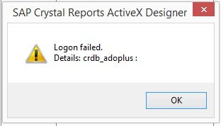 Crystal Reports แจ้งเตือน Logon failed : credb_adoplus