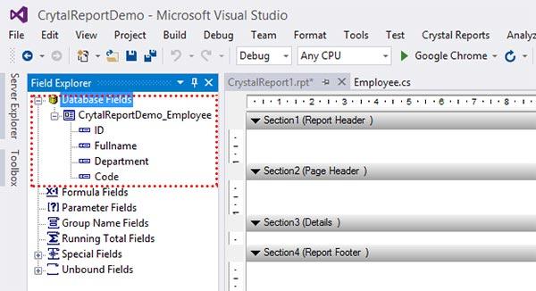 Crystal Reports เชื่อมต่อ Database Fields แบบ ADO.NET (XML)
